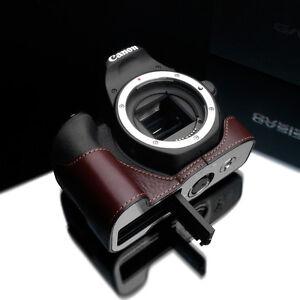 GARIZ XS-CH200DBR Genuine Leather Half Case for Canon 200D SL2 Brown