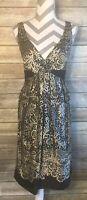 Jones New York Dress 12 Silk Black Empire Waist Beige Print Sleeveless Evening