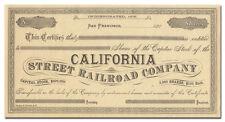 California Street Railroad Company Stock Certificate (1880's)