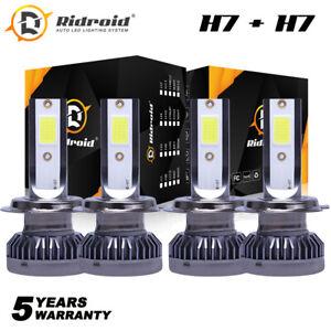 240W 52000LM 6000K Mini H7 + H7 Combo LED Headlight Bulbs High Low Beam Kit 2Set