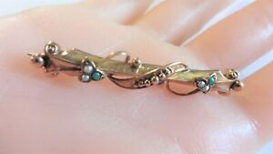 Antique Victorian Bar Brooch With Turquoise And Pearls. - 9ct Rose Gold