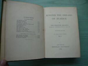 BEYOND THE DREAMS OF AVARICE by SIR WALTER BESANT H/BACK 1895 TAUCHNITZ EDITION