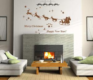 Christmas Santa on Sleigh Art Vinyl Wall Sticker, Home Wall Decal- Removable