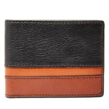 FOSSIL EASTON BLACK+BROWN+TAN STRIPED LEATHER,RFID PROTECTED TRAVELER MEN WALLET