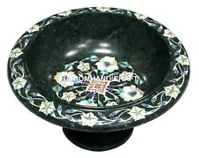Green Marble Dry Fruit Bowl Mother of Pearl Floral Inlay Mosaic Decor Gift H1394