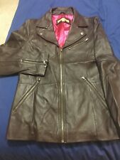 NIOTTO Womens Chocolate brown Leather Jacket Or Coat - Size S - Zipper Closures