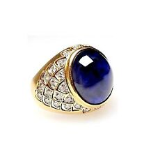 """925 Sterling Silver Natural Blue Sapphire & Cz Men""""s Ring"""