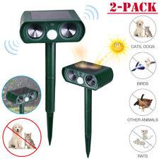 2× Solar Power Ultrasonic Animal Repeller Pest Repellent Cat Deer Raccoon Garden