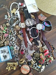 Junk Drawer Lot Watches Jewelry Stamps