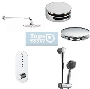 Sphera 3-way Concealed Thermostatic Push Button Shower Set with bath filler.