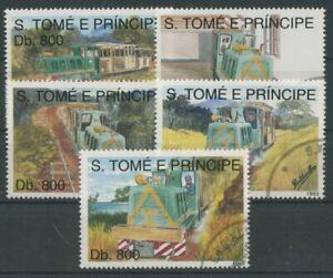 Sao Tomé und Príncipe 1993 Eisenbahnen 1411/15 gestempelt