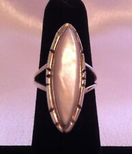 BEAUTIFUL Vintage Mother of Pearl Ring, Sterling, Signed, Sz 5.5, Navajo