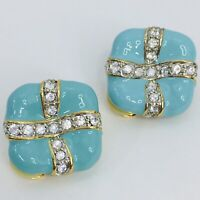 Vintage Enamel Rhinestone Earrings Clip On Turquoise Robin Egg Blue Gold Tone