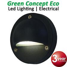 2 x 12V LED Exterior Eyelid Step Light Black Outdoor Surface Mounted STE3