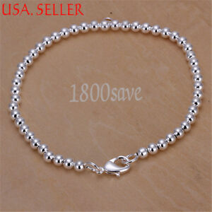 925 Sterling Silver Classic Tarnish-Free 3mm Round Bead Chain Fashion Bracelet