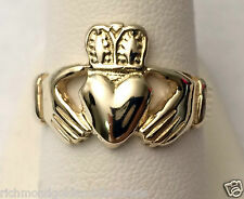 Mens Claddagh Wedding Ring Band 14k Yellow Solid Gold Great Quality Value 4.3 gr