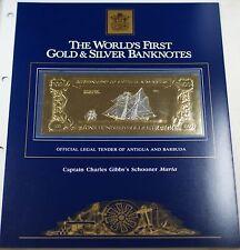 1981 Antigua/Barbuda $100 Gold/Silver Note-Capt. Charles Gibbs's Schooner Maria