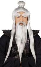 Adult Martial Arts Japanese Ninja Master Sensei Wig Beard Long Hair Costume Set