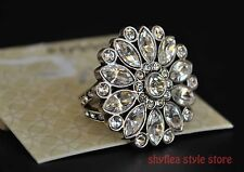 Fossil Cocktail Ring Glitzy Glass Stones Daisy Flower Statement Silver Tone Sz 7