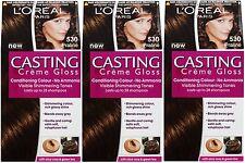 3 x LOreal Paris Casting Creme Gloss 530 Praline (No Ammonia) Hair Dye