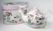 Divine Ceramic Teatime Gingham & Lace Cupcake Party Teapot With Gift Box