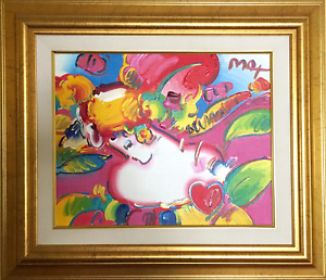 Peter Max, Flower Blossom Lady Detail, Acrylic on Canvas, signed u.r