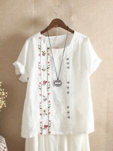UK Summer Womens Cotton Linen Loose Blouse Floral Tops Ladies T-Shirts Plus Size