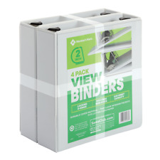 """Members Mark 2"""" Locking D-Ring View Binder, White 4-Pack, Holds up to 540 Sheets"""