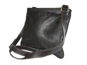 Gucci Guccissima Leather Dark Brown Crossbody Mini Messenger Bag GS2677