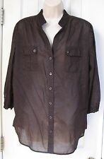 Chico's 3/4 Sleeve Brown Button Shirt 2 100% Cotton M 12 V-Neck Women's