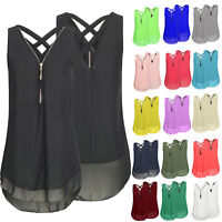 Women V Neck Sleeveless Chiffon Vest Tank Top Tunic Summer Casual Blouse T Shirt