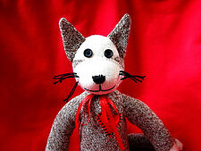 💖 Rockford Red Heel Sock Monkey Kitty Cat!  Handmade