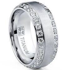 Band Engagement Ring w Cz New* Men's Titanium Dome Brushed Finished Wedding