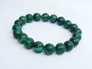 Men's Gemstone 8inch Beaded Bracelet Malachite 10mm beads Elastic stretchable