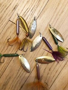 Lot Of 6 Vintage Rooster Tail Lures EXc #6 Walleye Pikie