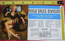OCTOBER 1968 BLACK CHIFFON VINTAGE CALENDAR NEELY SALES HEWLETT PACKARD GIRLIE