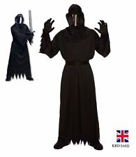 Adult GRIM REAPER COSTUME + MIRRORED MASK Fancy Dress Mens Halloween Party UK