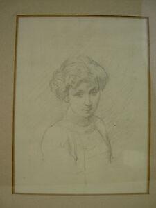 LOUIS EMILE ADAN (ATT. A) DESSIN AU CRAYON PORTRAIT DE FEMME Ca. 1900 ENCADRE