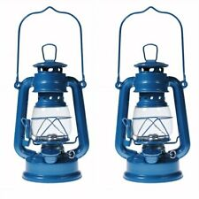 2 - Hurricane Kerosene Oil Lantern Emergency Hanging Light Lamp - Blue - 8 Inch