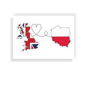 United Kingdom to Poland, Travel print, Flag art, gift