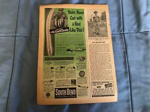 """1947 South Bend Fishing Poles and Lures Vintage Ad """"You've Never Cast with A Rod"""