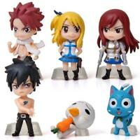 6pcs/Lot Fairy Tail Lucy Natsu Erza Gray PVC Action Figure Anime Gift Toy