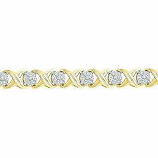 10kt Yellow Gold Womens Round Diamond Bangle Bracelet 1.00 Cttw
