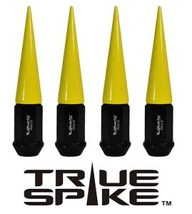 16 TRUE SPIKE 112MM 12X1.5 FORGED STEEL EXTENDED SPIKED LUG NUTS NEON YELLOW B