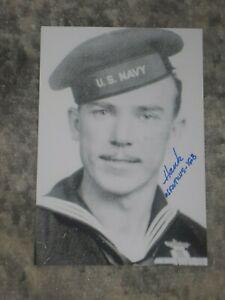 HANK KUDZIK Signed 4x6 Photo WWII BATTLE OF MIDWAY AUTOGRAPH 1A