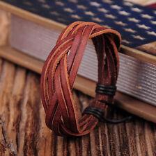 NG347 Brown Cute Adjustable Hemp Leather Braided Wristband Bracelet Unisex Mens