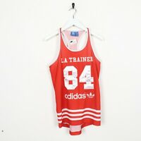 Vintage Women's ADIDAS ORIGINALS Big Logo Basketball Jersey Vest Red | UK 14