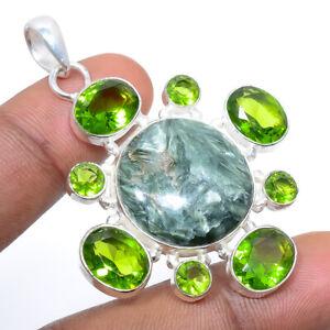 """Seraphinite - Russia & Peridot 925 Sterling Silver Pendant Jewelry 2.15"""" W2490"""