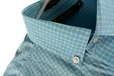 Cremieux Signature Collection Mens Shirt Size Medium Blue Checks Short Sleeve