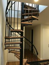 Wrought Iron spiral staircase Plain balustrade with timber thread 1400 Diameter